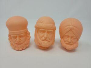 Set of 3 The Three Wise Men Vinyl Craft Doll Heads Christmas Nativity VTG Japan