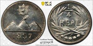 1897 Guatemala 1/4 Real PCGS MS65 Lot#G1309 Silver! Gem BU!