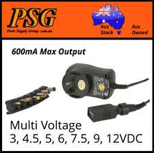 Ac/Dc Adaptor plug pack 3v 4.5v 5v 6v 7.5v 9v 12v Switchmode power supply 0.6Amp