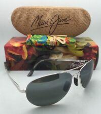 Authentic MAUI JIM Sunglasses PILOT MJ 210-17 63-18 Silver Frame w/ Neutral Grey