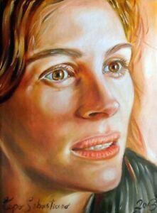 Ritratto su commissione da foto dipinto olio su tela Ritratti da foto arte 20X30