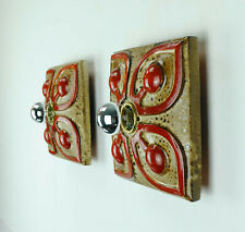pair of mid century ceramic WALL LAMPS sconces 60s 70s fat lava geometric decor