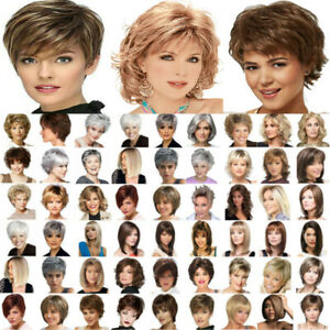 Women's Real Natural Short Straight Wavy Curly Wigs Pixie Cut Bob Wig Hair Wig