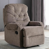 Manual Recliner Chair Fabric Armchair Sofa Padded Living Room Chaise Footrest