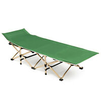 Foldable Camping Bed Portable Cot Bed Patio w/Carrying Bag Outdoor Travel Green