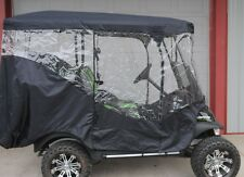 Black Rain Cover Enclosure for Lifted Golf Cart w long Roof & back Seat Ezgo