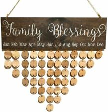Family Blessings Birthday Reminder Wooden Board Calendar Wall Hanging Decor DIY