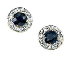 Sapphire Round Yellow Gold Fine Earrings
