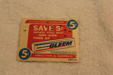 Free Shipping! Vintage 1960s 5 Cent Coupon Gleem Toothpaste IBM Punches