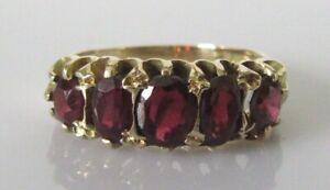 Gold Garnet Ring - Vintage 9ct Yellow Gold Garnet 5 Stone Ring Size J