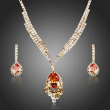 New Party 18K GOLD GP Made With SWAROVSKI Elements EARRINGS NECKLACE SET 163