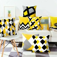 Modern Geometric Cushion Mustard Yellow and Grey Sofa Case Cover 18*18 inch