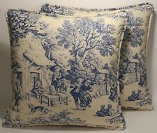"2 18""  French Country Blue Toile Party Scene Handmade Decorative Pillow Covers"