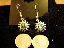 bling sterling silver plated abalone paua shell sun burst ear ring hip hop beach
