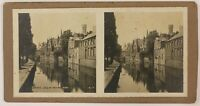 Bruges Le Wharf Belgium Foto Stereo T4n3 Vintage Albumina Analogica c1900
