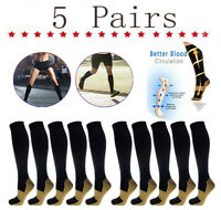 5 Pairs Compression Socks 20-30mmHg Graduated Men Women Sport Socks S-XXL