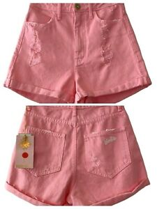 Show Me Your Mumu Barbie Womens NWT Pink Raleigh Roll Up Hi-Rise Shorts Size 24