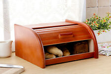 Blue Bread Bin Box Storage Container Roll Loaf Wood Wooden 18x30x40cm Large