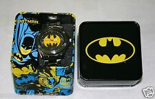 BATMAN GUNMETAL SPORT WATCH & COLLECTORS TIN BY ACCUTIME - U.S. Seller FREE SHIP