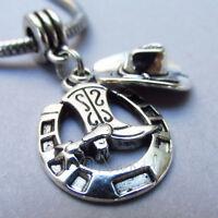 Cowboy Hat And Lucky Horseshoe European Bead Pendant For Charm Bracelets