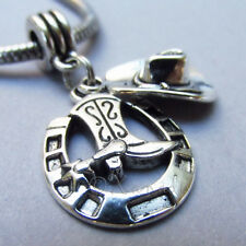 Cowboy Hat And Lucky Horseshoe European Bead Pendant For Charm Bracelets
