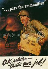 Pass Ammunition World War Ii US Military Vintage 11x17 Poster