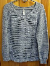 AEROPOSTALE sz XL Lt. Blue V-Neck Sweater with Open Work Front 100% Cotton