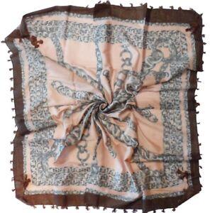 Pink Brown Chain Print Cotton Square Scarf (Z385)