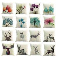 Watercolor Flower Linen Cushion Cover Sofa Throw Pillow Case Home Car Decor 45cm