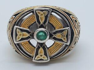 Sterling Silver Gold Sections Celtic Cross Etch Black Enamel Emerald Sz 8.5 Ring