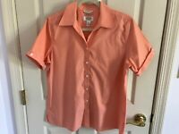Woman's Talbots size 12 regular orange short sleeve v neck cotton blouse