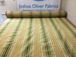 Designers Guild, Plush Velvet Stripe, Lemon, Green, Upholstery Fabric, Free P&P