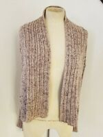 Free People Open Knit Ribbed Cardigan Sweater Sz M Marled Brown Womens