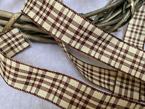 25mm Wired Edge Rustic Check Ribbon Chocolate Brown/Natural