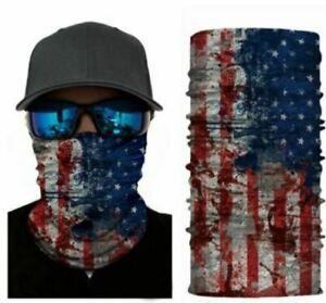 Face Mask Balaclava Neck Scarf Fishing Cover Sun Gator UV Headwear US USA Flag