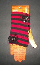 Fingerless GLOVES Claire's Black/Red Stripe with Spider/Chain   HALLOWEEN  NEW