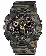 Casio Analog Digital Sport Mens G Shock Red Camouflage Watch Ga-100cm-5a