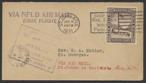 1931 Newfoundland St John's to Western Arm 1st Flight Cover