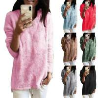 Womens Plus Size Fluffy Long Sleeve Sweater Pullover Jumper Warm Outerwear Tops