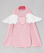 Kid Girl Pink Angel Heart Wing Flannel Silk Reversible Cape Soft Halloween Sz3-7