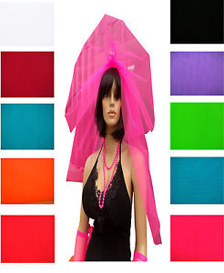 Neon Tutu Veil Hair Band 80's Fancy Dress Bride Hen Night Party Stag Net Clip On