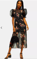TOPSHOP Size 10 2020 Midi Floral Black Statement Dress BNWT RRP £49.99