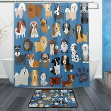 Set of 2 Cute Animal Dog 60 X 72 Inches Shower Curtain and Mat Set, Lovely