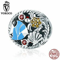 VOROCO 925 Sterling Silver Underwater World Charms With Cute Marine Organism