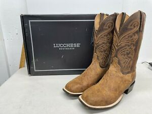 Lucchese Russel Boots - Cognac + Chocolate - US Size 10 EE