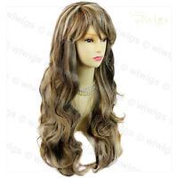 Wiwigs Beautiful Long Wavy Black Brown Red Blue Skin Top Ladies Wigs