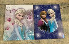 "2 Disney Frozen 2 Pocket Portfolio 9x12"" Folder 3 Ring Binder Punch New"