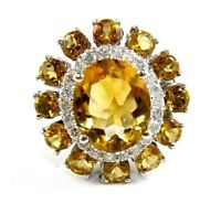 Oval Citrine & Diamond Halo Solitaire Lady's Ring 14K White Gold 6.50Ct