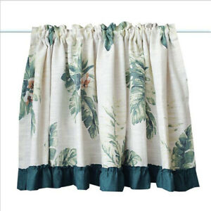 Plant Print Half Curtains Cafe Short Curtain Window Drapes Kitchen Cabinet Door