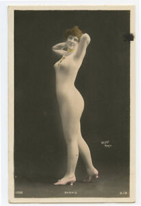 c 1910 French Nude YOUNG LADY Barkis Beauty Body Suit Stocking photo postcard